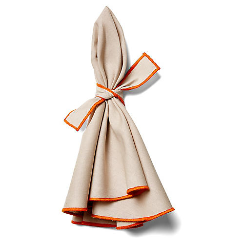 S/4 Napa Dinner Napkins, Beige/Orange