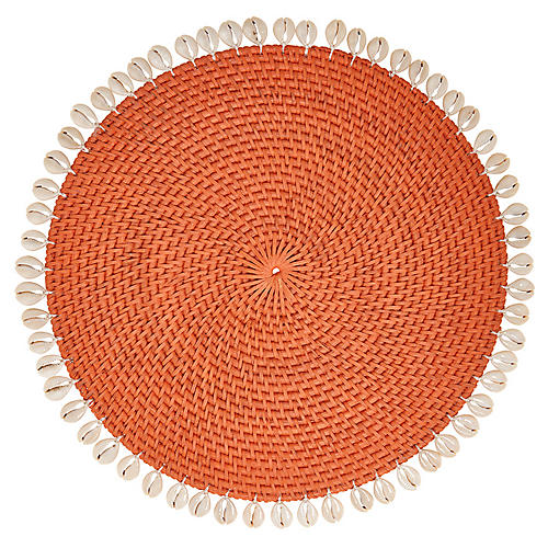 S/4 Shelby Place Mats, Orange/Ivory