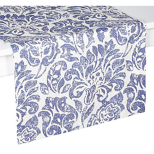 Santorini Table Runner, Blue/White