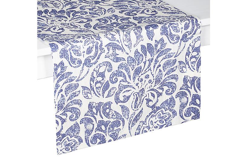 Santorini Table Runner, Blue/White