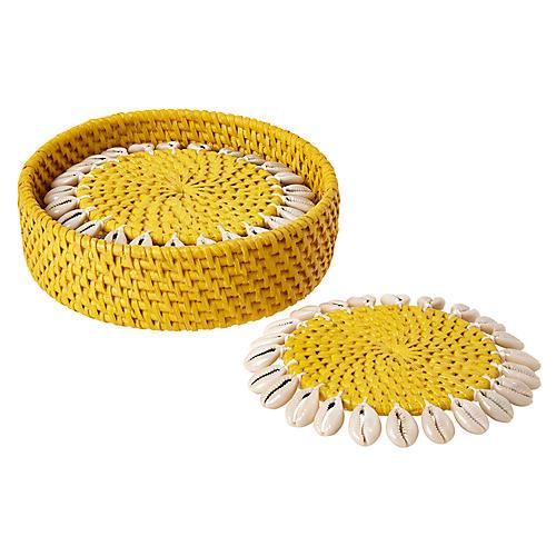 S/4 Shelby Coasters, Yellow/Ivory