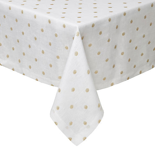 Vogue Tablecloth, White/Gold