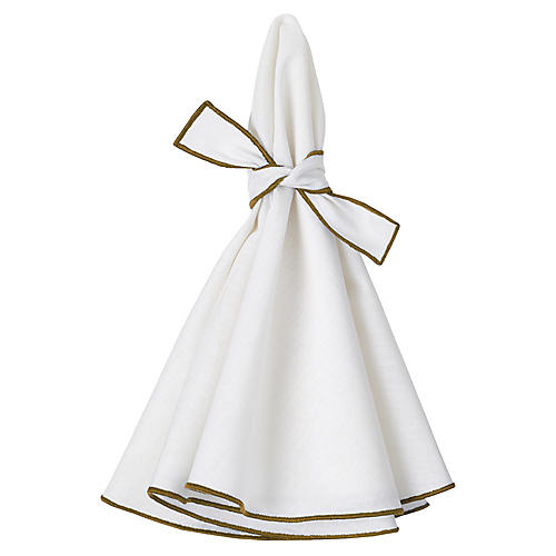 S/4 Napa Dinner Napkins, White/Olive