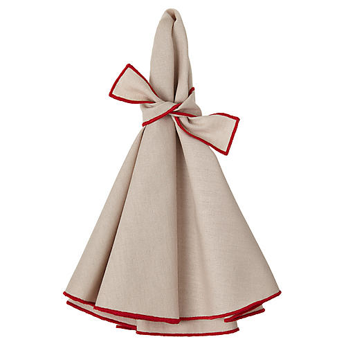 S/4 Napa Dinner Napkins, Beige/Red