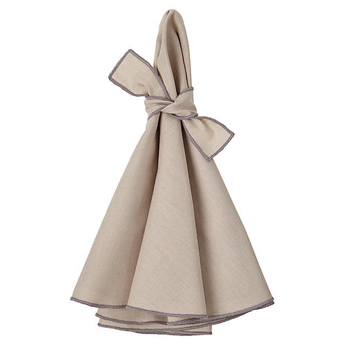 S/4 Napa Dinner Napkins, Beige/Gray
