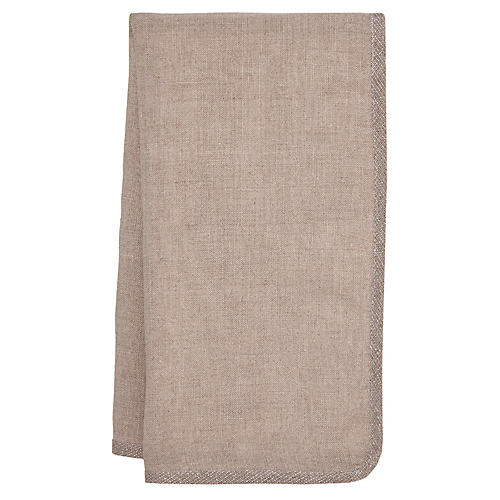 S/4 Milano Dinner Napkins, Taupe/Silver