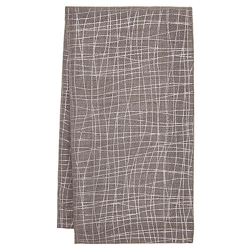 S/4 Tribeca Dinner Napkins, Gray/Silver