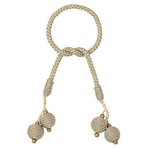 S/4 Porto Napkin Rings, Ivory/Gold