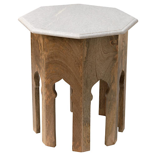 Kayla Marble Side Table, Natural/White