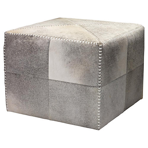 Beckett Pieced Hide Pouf, Smoke