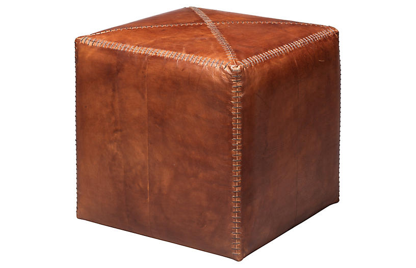 Tanner Pouf, Tobacco Leather