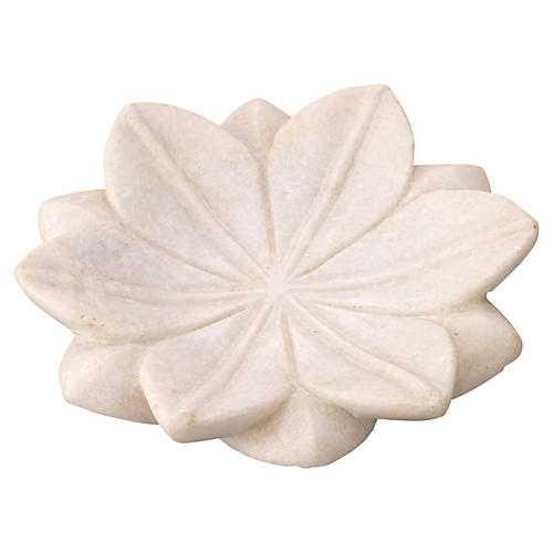 S/3 Small Lotus Plates, White