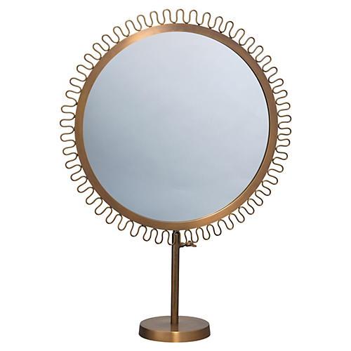 Sunburst Standing Mirror, Aluminum