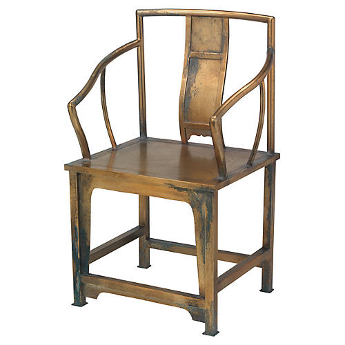 Ming Armchair, Antiqued Bronze