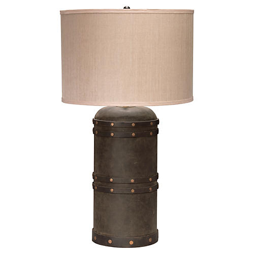 Barrel Table Lamp, Vintaged Brown