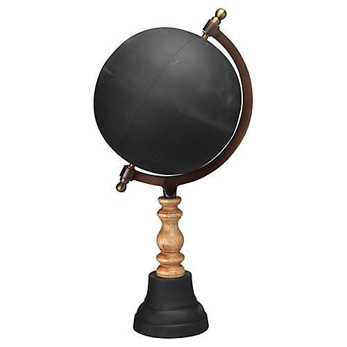 "20"" Chalkboard Globe, Black"