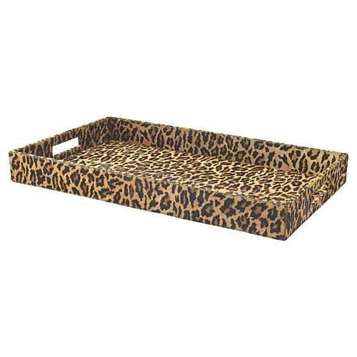 """24"""" Leopard Tray, Multi"""