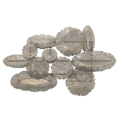 Josephine Lace Wall Art, Antiqued Silver
