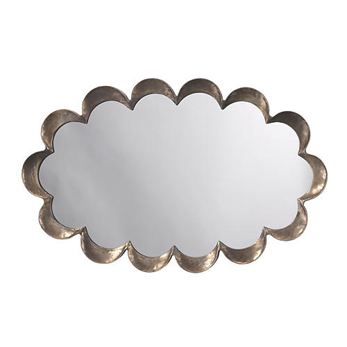 Scalloped Wall Mirror, Antiqued Silver