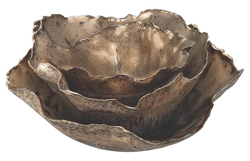 Asst. of 3 Fleur Bowls, Antiqued Gold