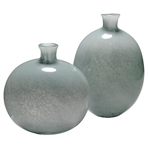 Asst. of 2 Minx Glass Vases, Gray
