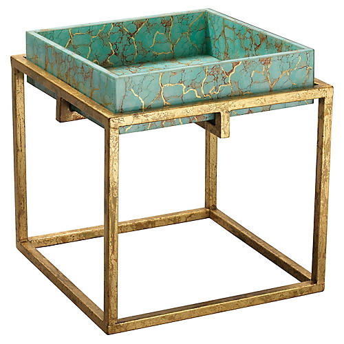 Shelby Tray Table, Turquoise/Gold