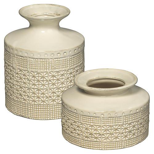Asst. of 2 Astral Vases, White