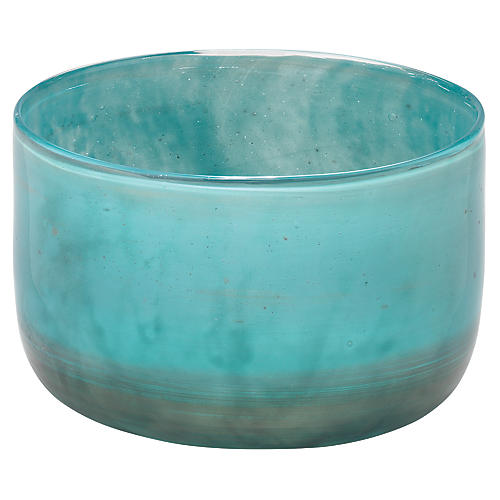 "7"" Vapor Small Vase, Metallic Aqua"