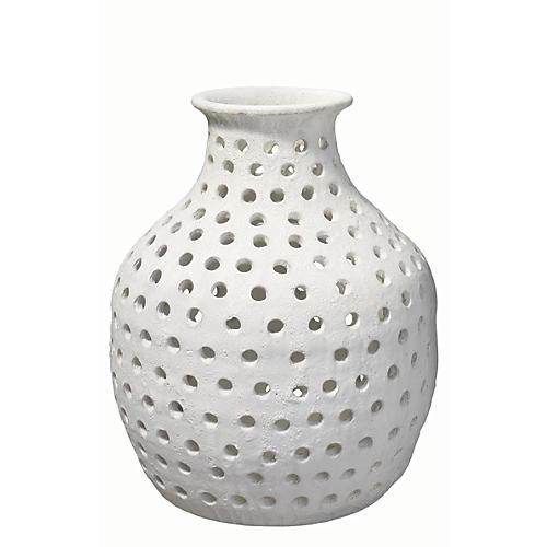 """17"""" Porous Vase, Matte White"""