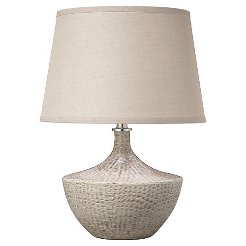 Basketweave Table Lamp, Off-White