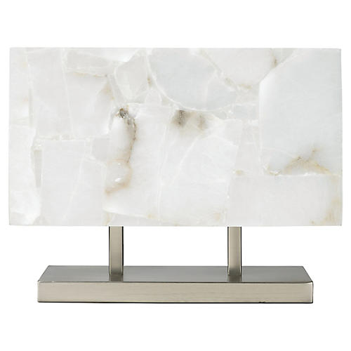 Ghost Horizon Table Lamp, Alabaster/Silver