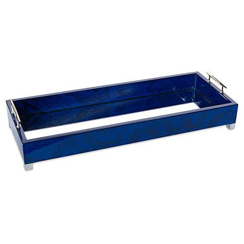 """20"""" Nickel Tray, Indigo Blue"""
