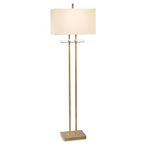 Glass Floor Lamp, Brass