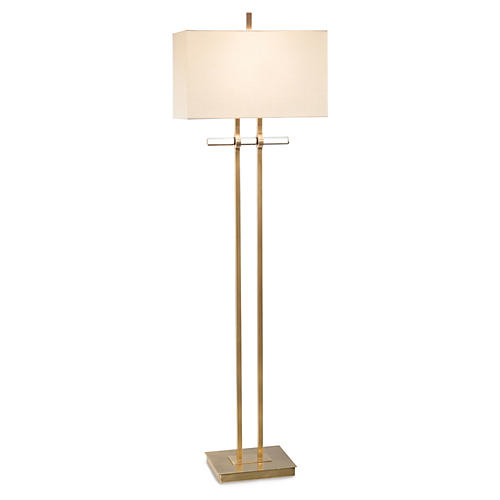 Glass Floor Lamp, Brass