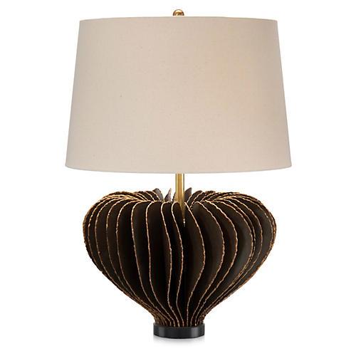 Brutalist Table Lamp, Bronze