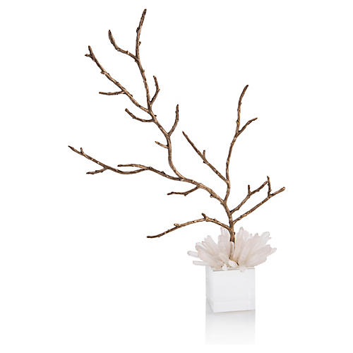 Decorative Branch in Quartz, Gold