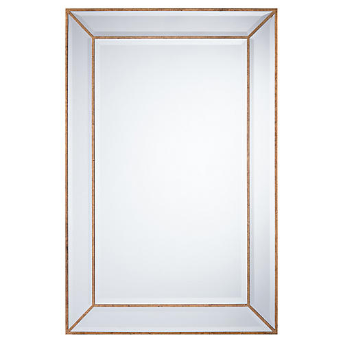 Manhattan Floor Mirror, Antiqued Gold