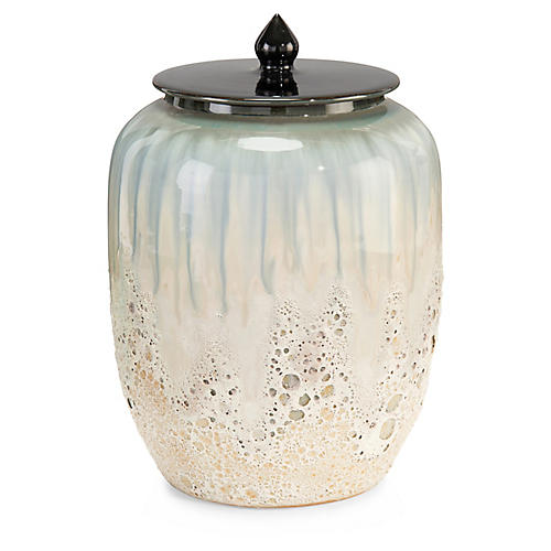 "18"" Smalt III Lidded Jar, Cream/Blue"