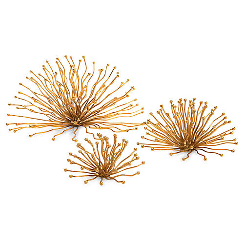 Sunray Wall Sculptures, Gold