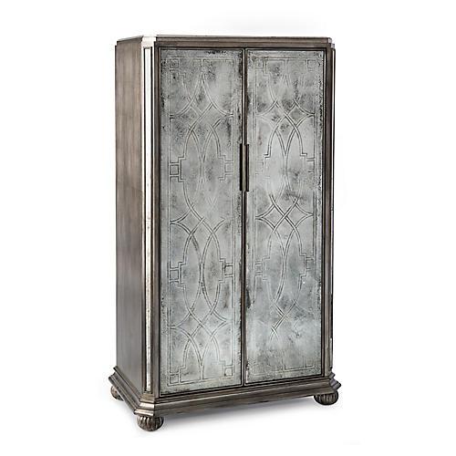 Linton 2-Door Cabinet, Silver/Mirrored