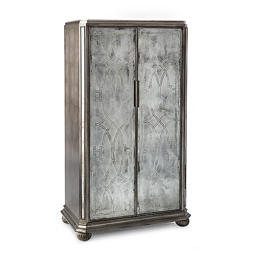Linton 2-Door Cabinet, Silver/Mirrored