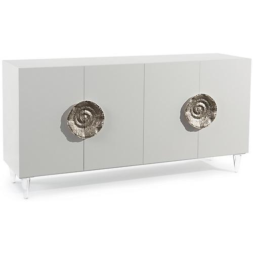 Triesse 4-Door Sideboard, Ice White/Nickel