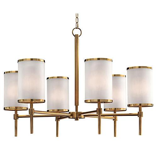 Brass Banded 6-Light Chandelier, Coffee Bronze