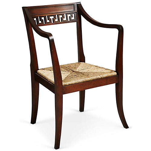 Dark Brown Wood Chair w/ Rattan Seat
