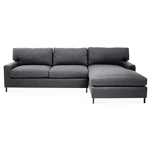 "Maison 113"" Sectional, Gray Sunbrella"