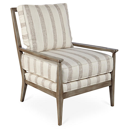 Oslo Chair, Dove Stripe Sunbrella