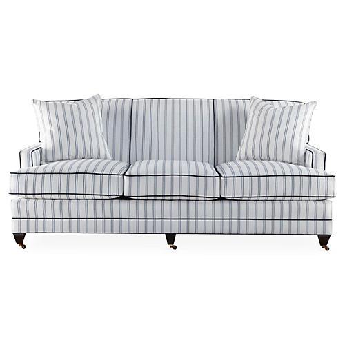 """Maxfield 75"""" Sofa, Navy/Ivory Sunbrella"""