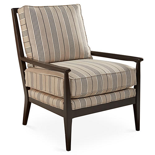 Oslo Chair, Gray/Beige Stripe Sunbrella