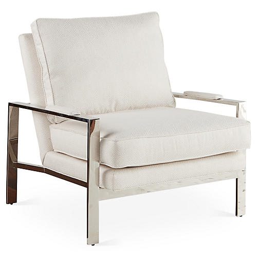 Mesa Chair, White Sunbrella