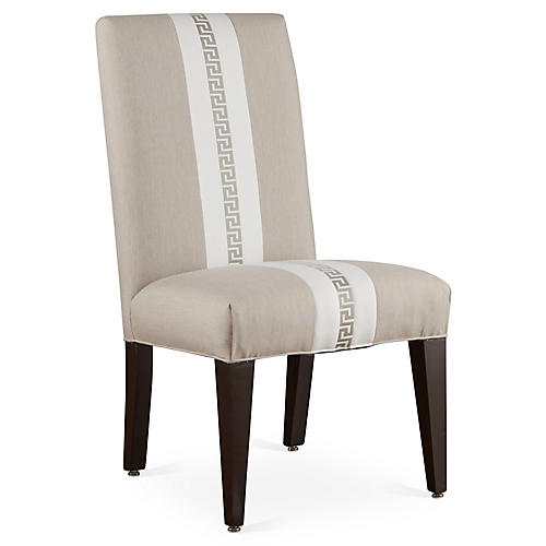Villa Side Chair, White Sunbrella